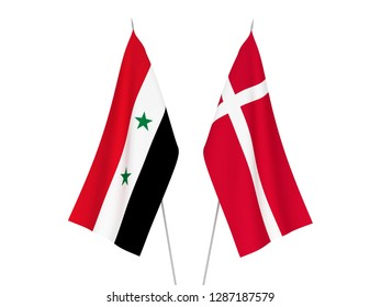 National fabric flags of Denmark and Syria isolated on white background. 3d rendering illustration.