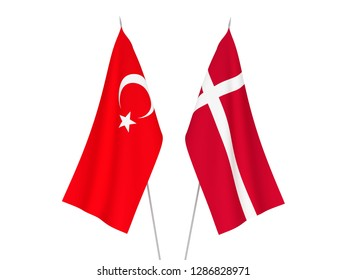 National fabric flags of Denmark and Turkey isolated on white background. 3d rendering illustration.