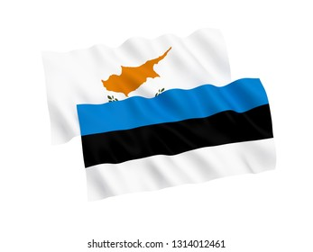 National fabric flags of Estonia and Cyprus isolated on white background. 3d rendering illustration. 1 to 2 proportion.