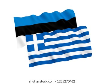 National fabric flags of Estonia and Greece isolated on white background. 3d rendering illustration.