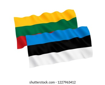 National fabric flags of Estonia and Lithuania isolated on white background. 3d rendering illustration.