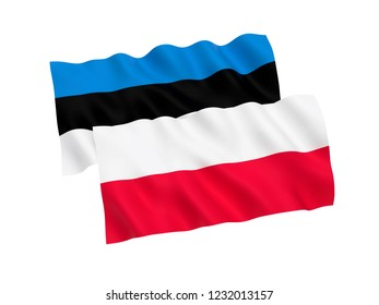 National fabric flags of Estonia and Poland isolated on white background. 3d rendering illustration.