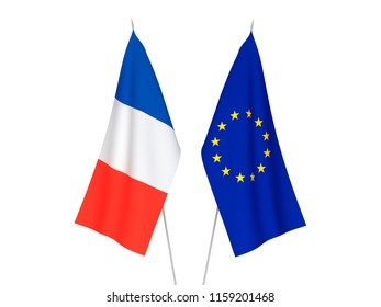 National fabric flags of European Union and France isolated on white background. 3d rendering illustration.