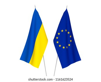 National fabric flags of European Union and Ukraine isolated on white background. 3d rendering illustration.