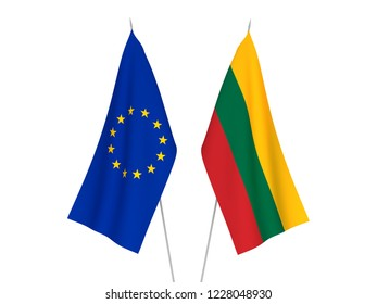 National fabric flags of European Union and Lithuania isolated on white background. 3d rendering illustration.
