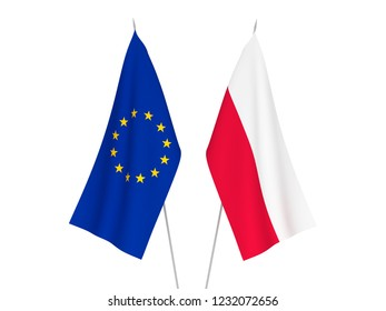 National fabric flags of European Union and Poland isolated on white background. 3d rendering illustration.
