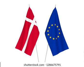 National fabric flags of European Union and Denmark isolated on white background. 3d rendering illustration.