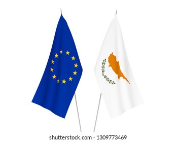 National fabric flags of European Union and Cyprus isolated on white background. 3d rendering illustration.