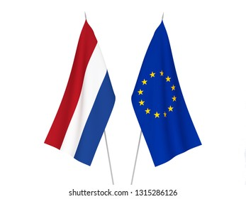National fabric flags of European Union and Netherlands isolated on white background. 3d rendering illustration.