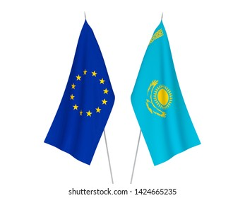 National fabric flags of European Union and Kazakhstan isolated on white background. 3d rendering illustration.