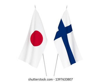 National fabric flags of Finland and Japan isolated on white background. 3d rendering illustration.