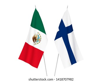 National fabric flags of Finland and Mexico isolated on white background. 3d rendering illustration.