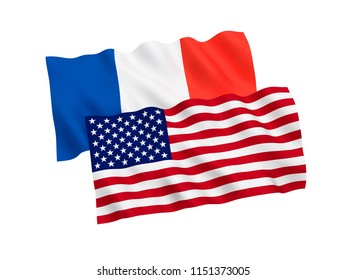 National fabric flags of France and America isolated on white background. 3d rendering illustration.