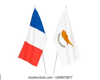 National fabric flags of France and Cyprus isolated on white background. 3d rendering illustration.