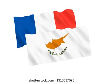 National fabric flags of France and Cyprus isolated on white background. 3d rendering illustration. 1 to 2 proportion.