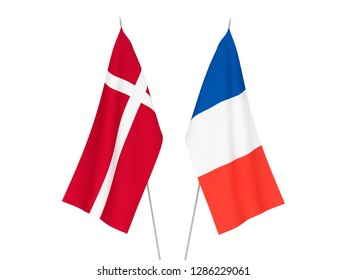 National fabric flags of France and Denmark isolated on white background. 3d rendering illustration.