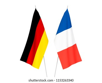 National fabric flags of France and Germany isolated on white background. 3d rendering illustration.