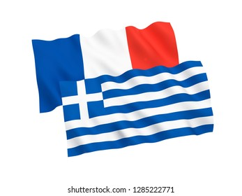 National fabric flags of France and Greece isolated on white background. 3d rendering illustration.