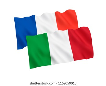 National fabric flags of France and Italy isolated on white background. 3d rendering illustration.