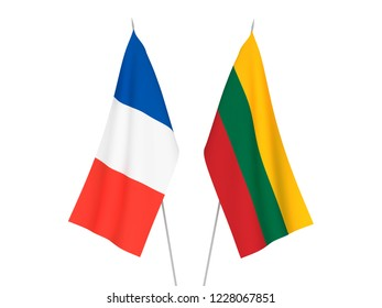 National fabric flags of France and Lithuania isolated on white background. 3d rendering illustration.