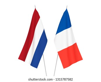 National fabric flags of France and Netherlands isolated on white background. 3d rendering illustration.