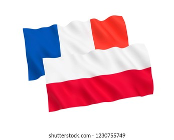 National fabric flags of France and Poland isolated on white background. 3d rendering illustration.