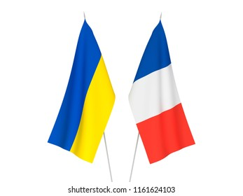 National fabric flags of France and Ukraine isolated on white background. 3d rendering illustration.