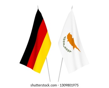 National fabric flags of Germany and Cyprus isolated on white background. 3d rendering illustration.