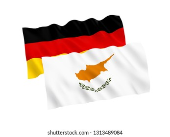 National fabric flags of Germany and Cyprus isolated on white background. 3d rendering illustration. 1 to 2 proportion.