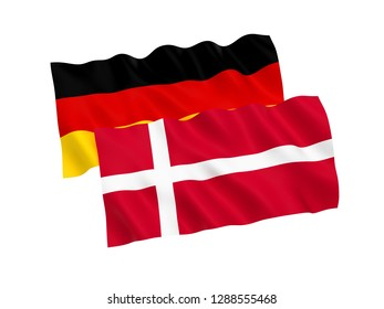 National fabric flags of Germany and Denmark isolated on white background. 3d rendering illustration.