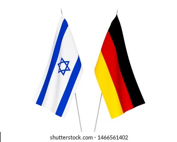 National fabric flags of Germany and Israel isolated on white background. 3d rendering illustration.