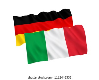 National fabric flags of Germany and Italy isolated on white background. 3d rendering illustration.