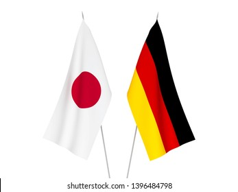 National fabric flags of Germany and Japan isolated on white background. 3d rendering illustration.