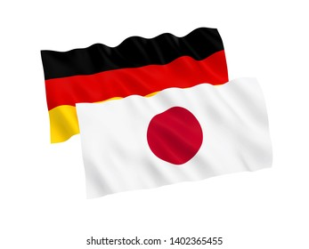 National fabric flags of Germany and Japan isolated on white background. 3d rendering illustration. 1 to 2 proportion.