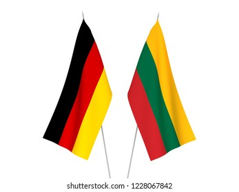 National fabric flags of Germany and Lithuania isolated on white background. 3d rendering illustration.