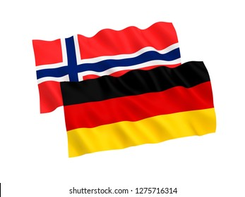 National fabric flags of Germany and Norway isolated on white background. 3d rendering illustration.