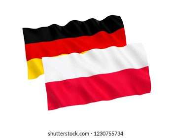 National fabric flags of Germany and Poland isolated on white background. 3d rendering illustration.