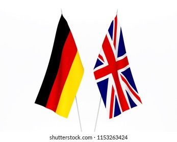 National fabric flags of Great Britain and Germany isolated on white background. 3d rendering illustration.