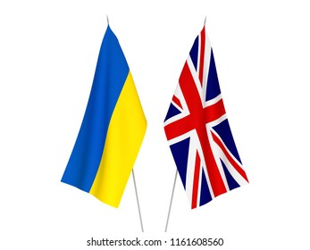 National fabric flags of Great Britain and Ukraine isolated on white background. 3d rendering illustration.