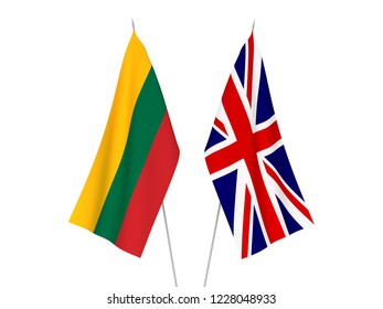 National fabric flags of Great Britain and Lithuania isolated on white background. 3d rendering illustration.