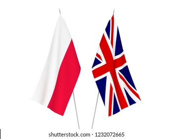 National fabric flags of Great Britain and Poland isolated on white background. 3d rendering illustration.