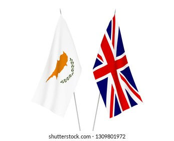 National fabric flags of Great Britain and Cyprus isolated on white background. 3d rendering illustration.