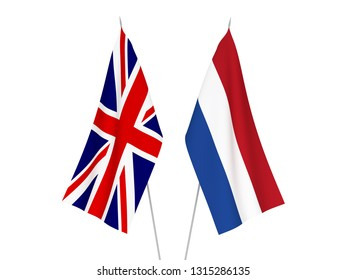 National fabric flags of Great Britain and Netherlands isolated on white background. 3d rendering illustration.
