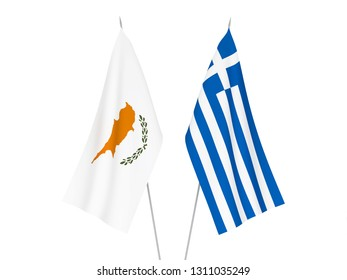 National fabric flags of Greece and Cyprus isolated on white background. 3d rendering illustration.