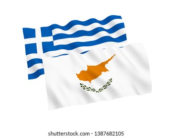 National fabric flags of Greece and Cyprus isolated on white background. 3d rendering illustration. 1 to 2 proportion.