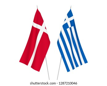 National fabric flags of Greece and Denmark isolated on white background. 3d rendering illustration.