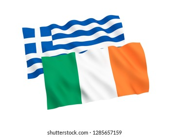 National fabric flags of Greece and Ireland isolated on white background. 3d rendering illustration.