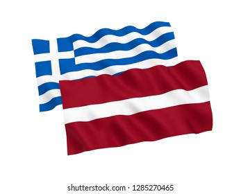 National fabric flags of Greece and Latvia isolated on white background. 3d rendering illustration.