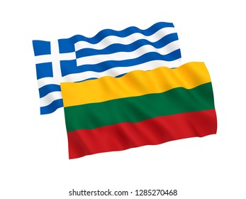 National fabric flags of Greece and Lithuania isolated on white background. 3d rendering illustration.