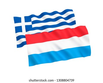 National fabric flags of Greece and Luxembourg isolated on white background. 3d rendering illustration. 1 to 2 proportion.